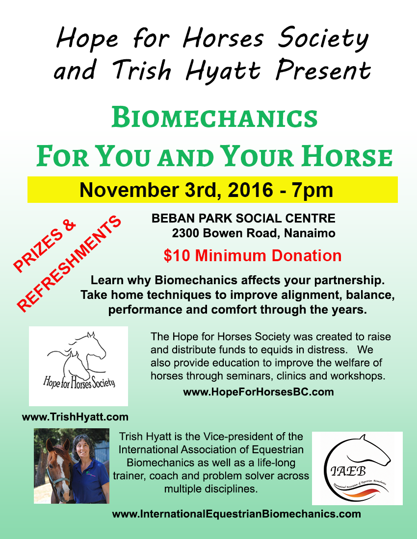 Hope for Horses Nov 3 Biomechanics Talk